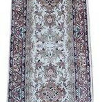 Ivory - Copper Corridor 12 ft Hallway Runner Carpet Artificial Silk Traditional