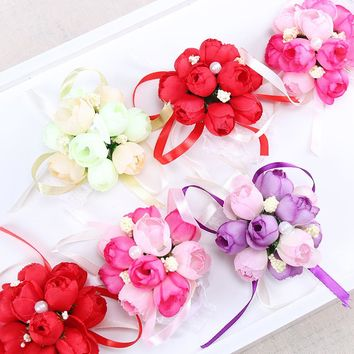 3 PCS  Rose Wrist Corsage Bridesmaid Sisters Hand Flowers Artificial Bride Flowers for Wedding Party Decor Bridal Prom