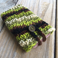 Crochet Camo iPhone Galaxy Note Case with size options, Boho iPhone Sleeve, Camo Phone Cover, Crochet Phone Case w Button, Fits all Phones