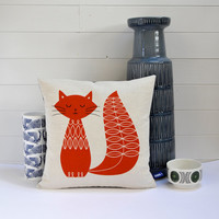 Hand Screen Printed Cat Cushion Cover in Burnt Orange