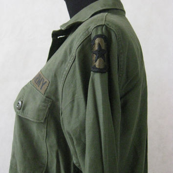 80s Military Uniform Shirt, Vintage US Army Drab Olive Green Button Down Uniform Shirt Jacket Size M Medium 15.5 x 35