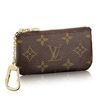 LV Louis Vuitton Women Men Monogram Zipper Canvas Key Pouch I