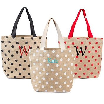 Personalized Black / Natural Polka Dot Jute Tote Bag