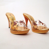 """Killer 1950's Dead Stock Gold Platform Mules w/ Clear Plastic and Giltter Butterflies by """"Carroll's of CA"""" Rockabilly VLV Pinup Size-7 1/2M"""