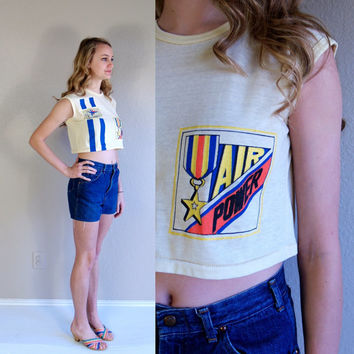 "20% off vtg 80s yellow TOP GUN ""Air Power"" CROPPED Tee small crop top shirt cropped jet plane novelty print"