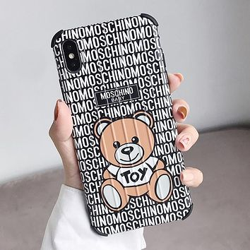 MOSCHINO Stylish Women Cute Bear Mobile Phone Cover Case For iphone 6 6s 6plus 6s-plus 7 7plus 8 8plus X XS Max XR Black