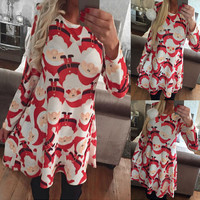 Christmas snowman elk print dress