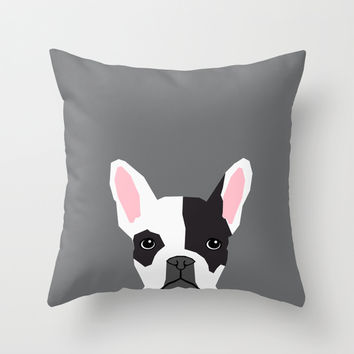 Parker - French Bulldog animal art modern colors for dog people Throw Pillow by PetFriendly