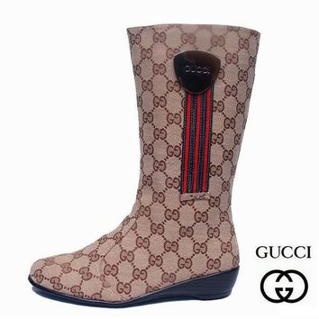 GUCCI Women Fashion Leather Tube in Boots Flats Shoes-2