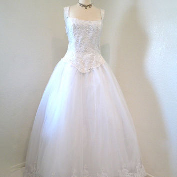 Vintage 1950s Wedding Dress Lace Sweetheart Suzy Perette Bust Pearl Beaded M/L