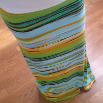 Striped, Spring-Themed Maxi Skirt Custom Made upon Order Spring Skirt Spring Maxi Long Skirt A line Skirt Fashion Skirt Summer Skirt Stretch
