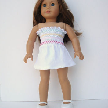 American Girl Dress, Beach Cover-up, White Smocked Dress, Strapless, fits 18 Inch Dolls. OOAK