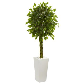 5' Braided Ficus Artificial Tree in White Tower Planter UV Resistant (Indoor/Outdoor)