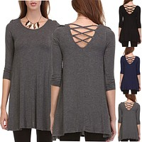 Solid Cross Strap Back 3/4 Sleeve Long Flared Hem Tunic Dress Top