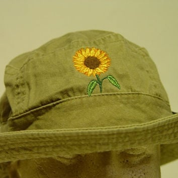 SUNFLOWER XL Bucket Hat - Embroidered Women Garden Cap - 10 Colors Available - Price Apparel Embroidery