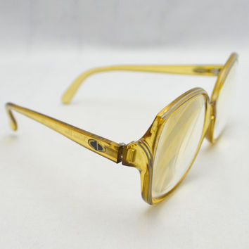 Vintage Christian Dior Eyeglass Frames, Yellow Citrine Eyeglasses, Optyl Made in Germany, 1980s