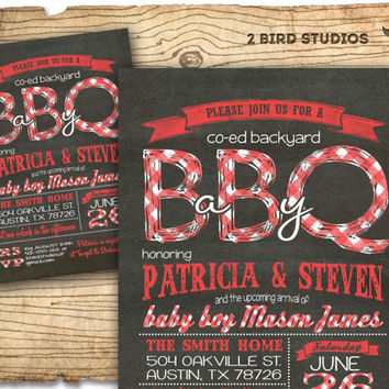Baby q baby shower invitation BBQ baby from 2birdstudios on