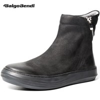 HOT!Mens Retro Boots Genuine Leather Zip Martin Boots Mid-calf Black Riding Boots Winter Shoes