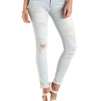 "Refuge ""Boyfriend"" Light Wash Destroyed Jeans - Lt Wash Denim"