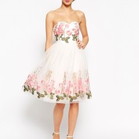 Chi Chi London Bandeau Full Prom Dress With Floral Embroidery
