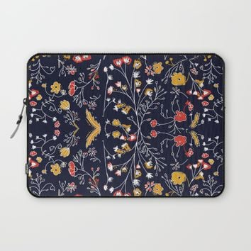 Flowers Pattern Dark Laptop Sleeve by aljahorvat