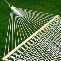 "Hammock 59"" Cotton Double Wide Solid Wood Spreader Outdoor Patio Yard Hammock - Walmart.com"