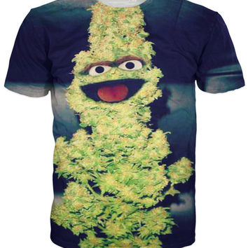 Oscar The Nug Oscar The Grouch As Weed All-Over Print Sublimated Green T-Shirt