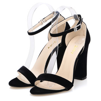 LOSLANDIFEN Newest Women Open Toe Sexy Ankle Straps Sandals High Heels Summer Ladies Bridal Suede Thick Heel Pumps 368-1VE