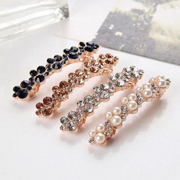 DKLW8 Fashion New Women Girls Elegant Crystal Rhinestone Pearl Barrettes Hair Clip Clamp Hair Accessories the cheapest products