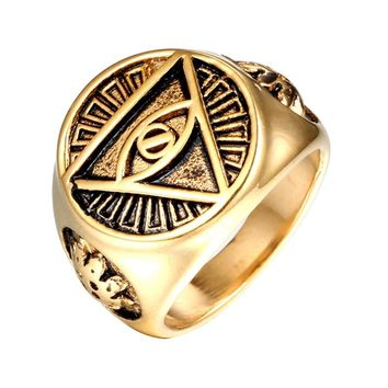 Punk Gothic Gold Color Titanium Stainless Steel Biker Illuminati Pyramid Eye Symbol Rings for Men Jewelry VR010
