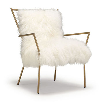 ANSEL WHITE TIBETAN FUR CHAIR