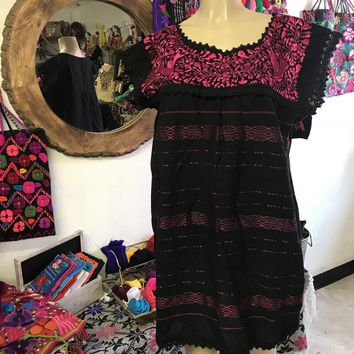 Oaxaca Black Short Loomed Dress with Magenta Embroidery