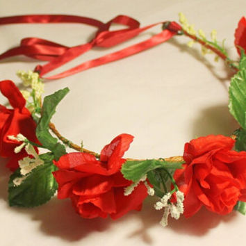 Flower Crowns, Adjustable Flower Headband, Flower Girl Headbands, Flower Wreaths, Rose Flower Headbands, Spring Festival Hair Accessories