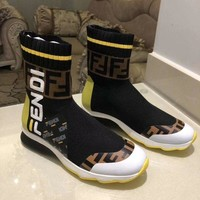 2020 New Office FENDI women F print Logo-embossed leather knee boots high heel shoes Ankle short lace up brown Boots top quality