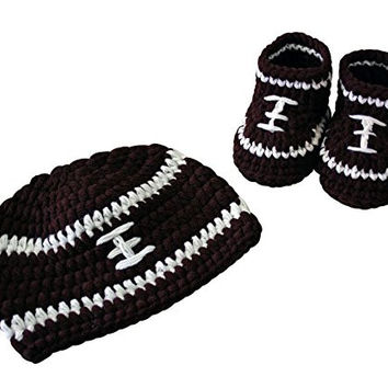 High Quality Crochet Handmade Football Baby Hat & Shoe Set (Small (0-3 months), Brown & White)