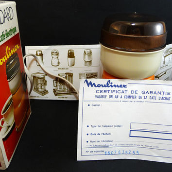 Moulinex Coffee Grinder, French Vintage 1970's, Coffee ware, Kitchen decor, Coffee and spices mill, Restaurant Grocery decor, Pop style