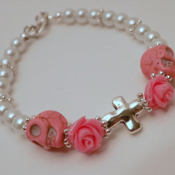 Skull Bracelet - Pink and Pearl Bracelet - Skull and Rose Bracelet - Day of the Dead Jewelry - Dia de los Muertos - Halloween - Horror