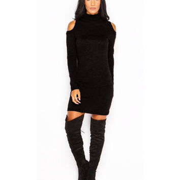 Sexy Turtle Neck Cold Shoulder Women's Knitted Dresses