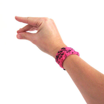 Fabric Wrap Bracelet Braided in hot pink by SmiLeaGainCreations