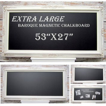 "KITCHEN CHALKBOARD For Sale ExTRA LaRGE 53""x27"" Framed Magnetic Chalkboard Framed Chalk board Long Narrow XXL Home Office Organizer"