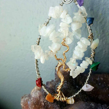 Rainbow Moonstone and Charkras Tree of Life Necklace
