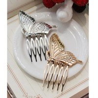1PC Lovely Butterfly Hair Combs Silver / Color Metal Hairwear Jewelry Hairpin Headdress Hair Clip  Hair Accessories