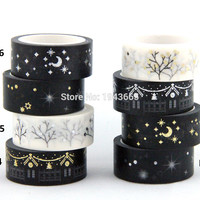 1X Black Moon Stars Washi Paper Masking Tapes 1.5cm x 5m DIY Scrapbooking Heart Stickers Gift Wrapping Sticker
