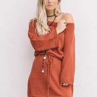 Bitter Sweet Brick Shoulder Dress