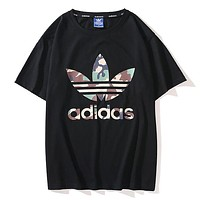 Adidas New fashion camouflage letter leaf print couple top t-shirt Black