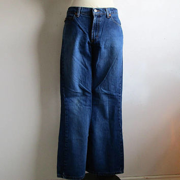 80s Todd Oldham Flare Jeans Vintage Designer Bell Bottom Blue Cotton 198s Denim Pants 9-32
