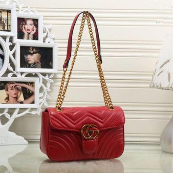 DCCK6HW Gucci' Women Simple Fashion Flip Double G Wave Stripe Metal Chain Single Shoulder Messenger Bag
