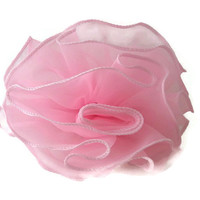 Hair Barrete Clip Handmade Round Pink - Sheer Fabric Casual or Dressy