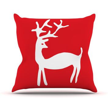 "Miranda Mol ""Reindeer Red"" Holiday Throw Pillow"