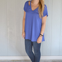 Get with the Cold Shoulder Top: Royal